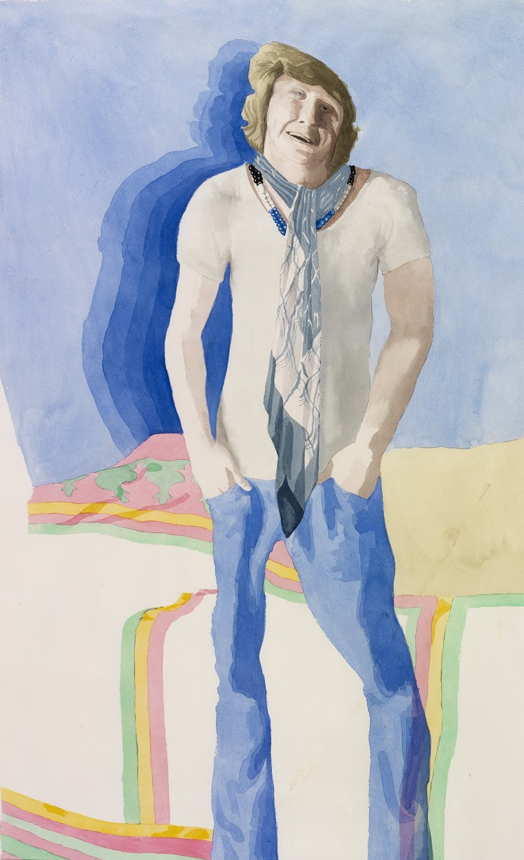 Patrick Procktor RA  Christopher Gibbs, 1967  Watercolour on paper  102 x 69 cm  Signed and dated verso