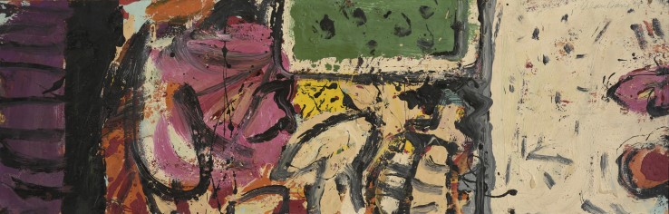 Alan Davie RA  Mood for Dolls, 1959  Oil on board  28 x 90 cm  Signed, dated and titled verso