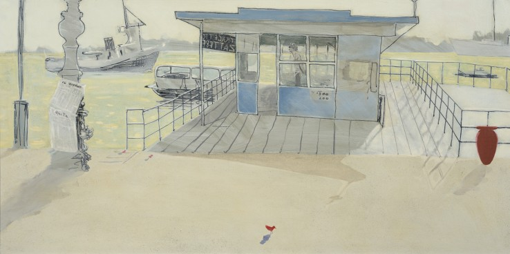Patrick Procktor RA  Vaporetto Terminal, Venice  Oil and black ink on canvas  51 x 100 cm