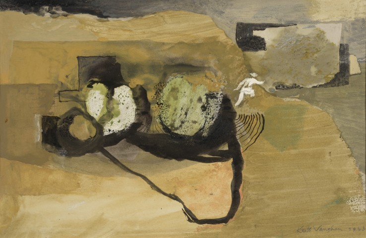 Keith Vaughan  Boulders on a Cliff Path, 1943  Gouache on paper  18 x 28 cm  Signed and dated lower right, titled verso
