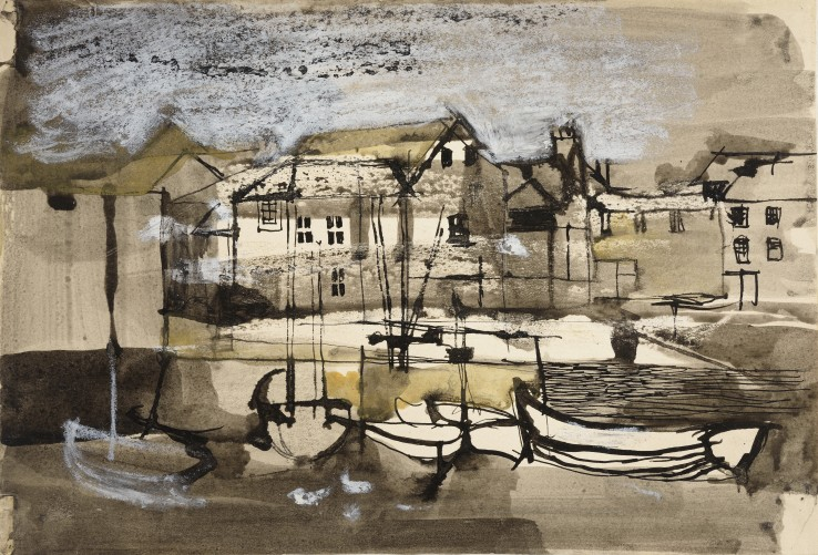 Keith Vaughan  Fishings Boats at Mevagissey, c.1948  Watercolour, ink, and chalk on paper  18.7 x 27.8 cm