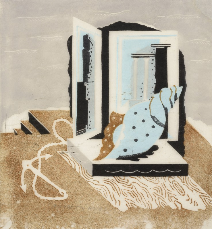 Ronald Grierson  Still Life with Anchor and Shell, 1930 (c.)  Linocut  28.2 x 26.2 cm  From the edition of 50 impressions  Signed and numbered lower centre