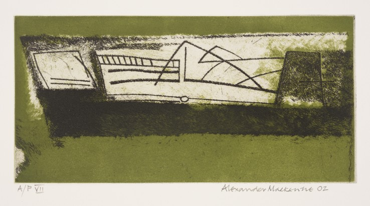 "Alexander MacKenzie  Scrimshaw (Mary Rose), 2002  Etching and aquatint on paper  15 x 30 cm  Numbered: ""A/P VII""  Signed, numbered, and dated"