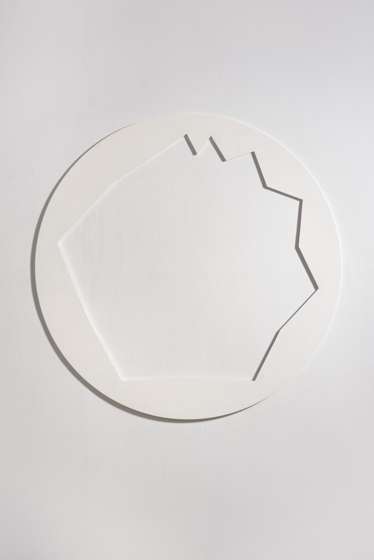 Norman Dilworth  Around and About, 1984  Wood painted white  122 cm diameter