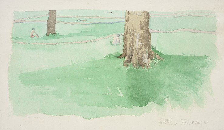 Patrick Procktor RA  Study for Back of the Zoo, 1971  Watercolour on paper  17.5 x 30.5 cm  Signed and dated lower left