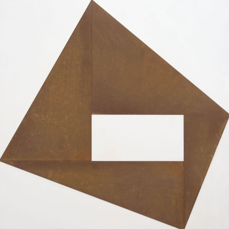 Norman Dilworth  Cornering 1, 2015  Board and corten steel  100 x 100 cm