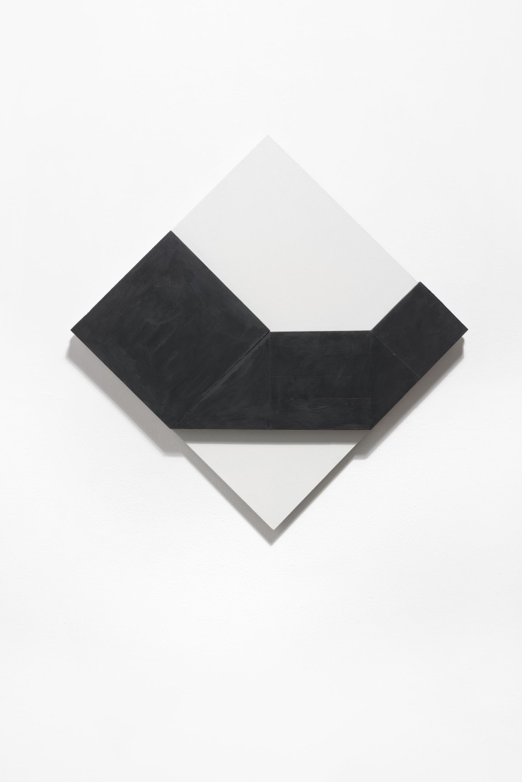 Norman Dilworth  Simple Progression 1, 2015  Wood painted black and white  56 x 56 x 2.6 cm