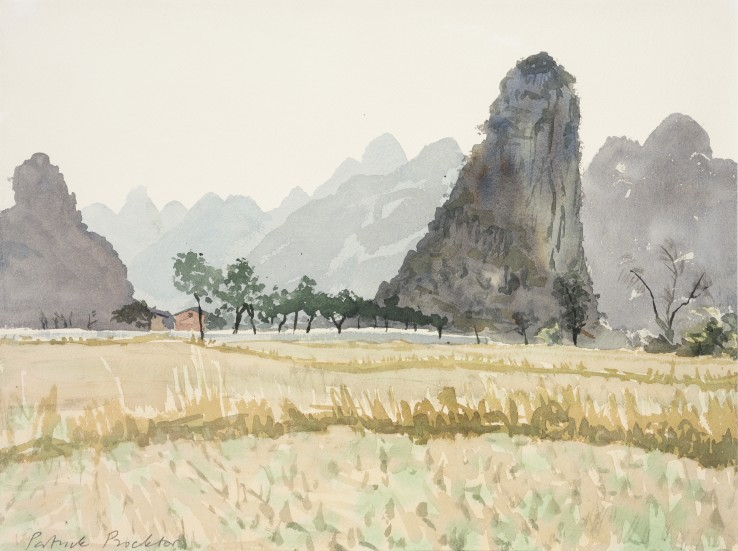 Patrick Procktor RA  Piled Festoon Mountains, Kweilin, 1980  Watercolour  30.5 x 40.5 cm  Signed