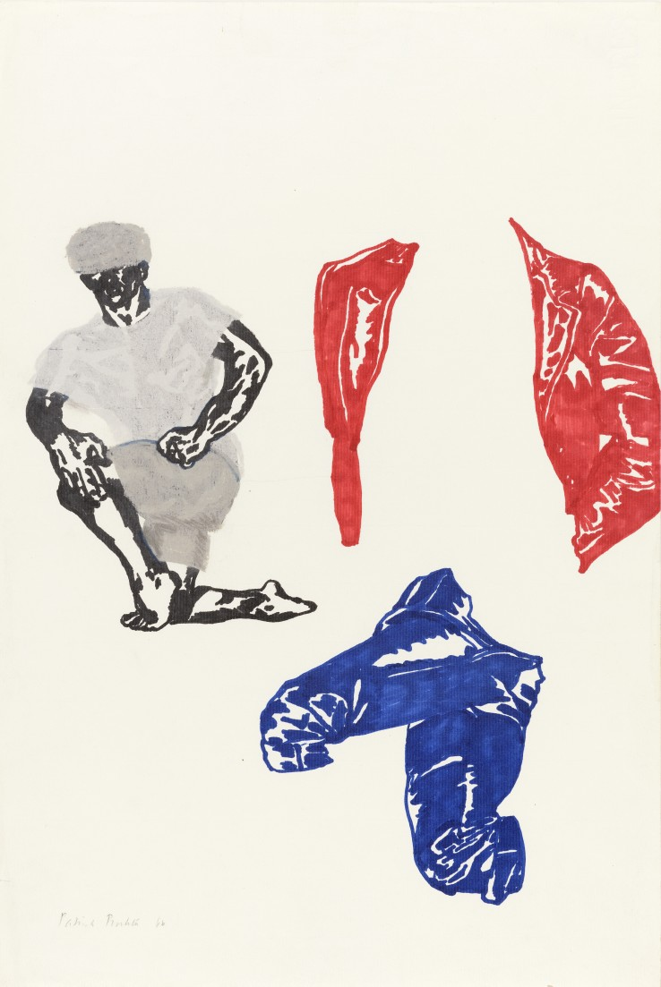 Patrick Procktor RA  Untitled (Studies), 1966  Felt-tip pen and pastel on Ingres  46 x 30 cm  Signed and dated in pencil