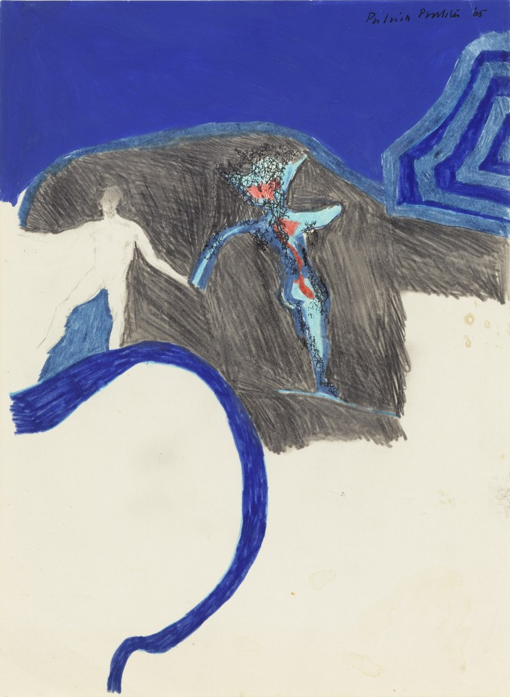 Patrick Procktor RA  Untitled (Composition with Two Figures), 1965  Mixed media on paper  28 x 21 cm  Signed and dated
