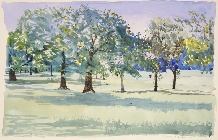 Patrick Procktor RA  Regent's Park, 1973  Watercolour on paper laid on card  55 x 86 cm  Signed and dated lower right