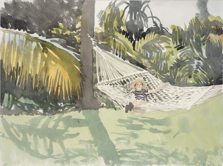 Patrick Procktor RA  Nicky in the Hammock, 1983  Watercolour on paper  45 x 60.5 cm  Signed and dated