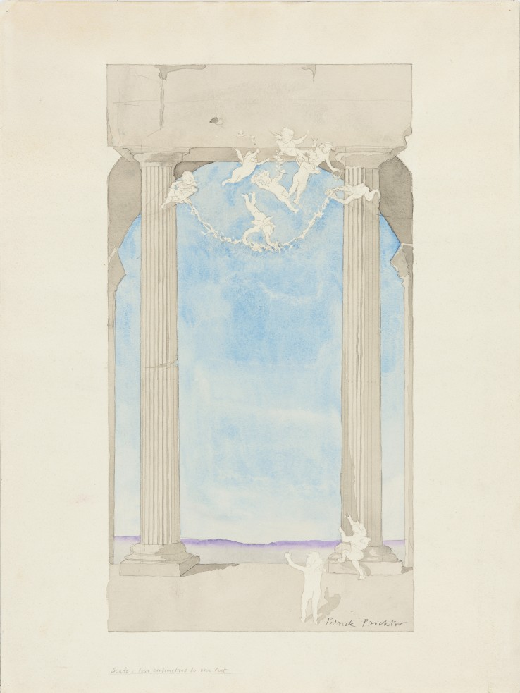 Patrick Procktor RA  Untitled (Mural Design), c.1977  Mixed media on paper  50 x 27 cm  Signed lower right, inscribed at lower left 'Scale: four centimetres to one foot'