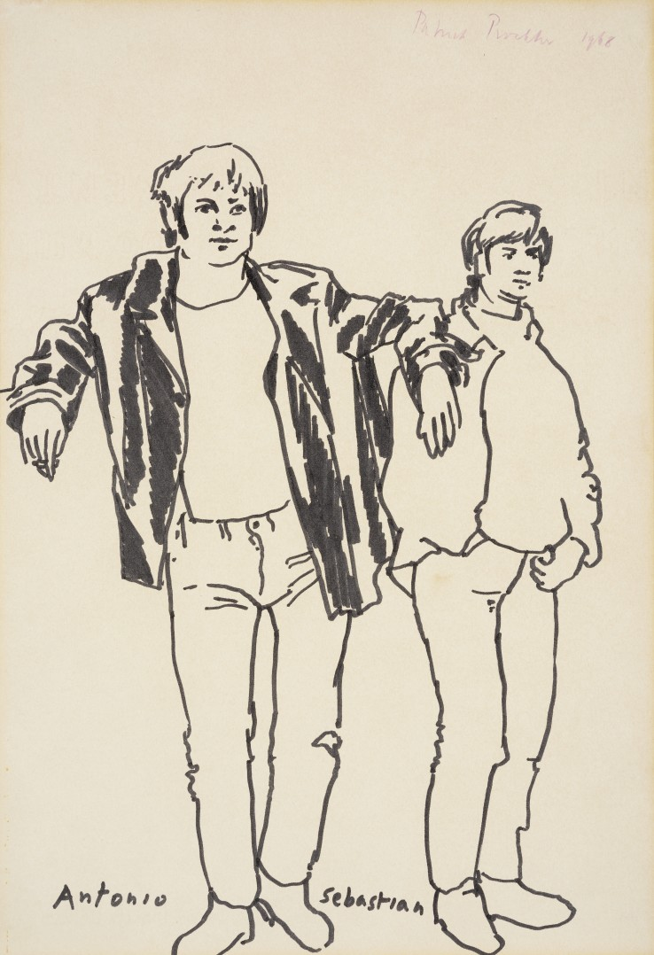 Patrick Procktor RA  Antonio and Sebastian, 1968  ink on paper  36 x 25 cm  Signed and dated upper right