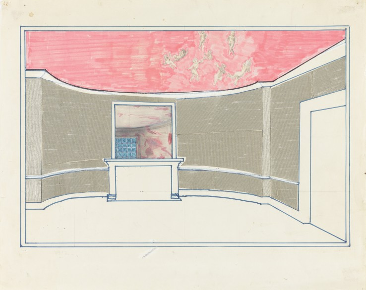 Patrick Procktor RA  Heaton Hall: Study for Mirror, 1966  Mixed media on paper  30 x 46 cm  Signed and dated in pencil