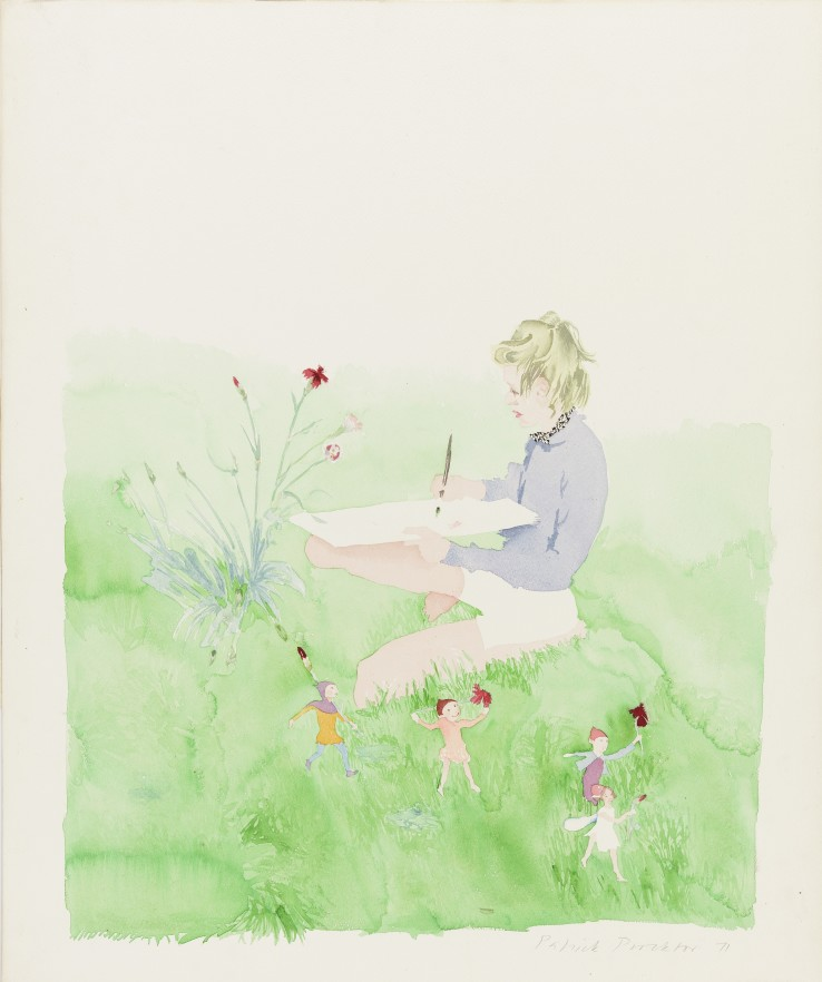 Patrick Procktor RA  Untitled, 1971  Watercolour on paper mounted on card  67 x 56 cm  Signed and dated in pencil