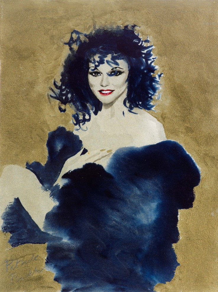 Patrick Procktor RA  Joan Collins, 1977  Mixed media  40.5 x 30.7 cm  Signed
