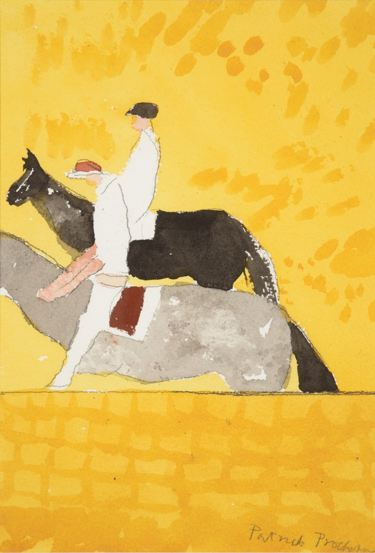Patrick Procktor RA  Untitled (Two Riders), 2002  Watercolour and pencil on paper  26 x 18 cm  Signed