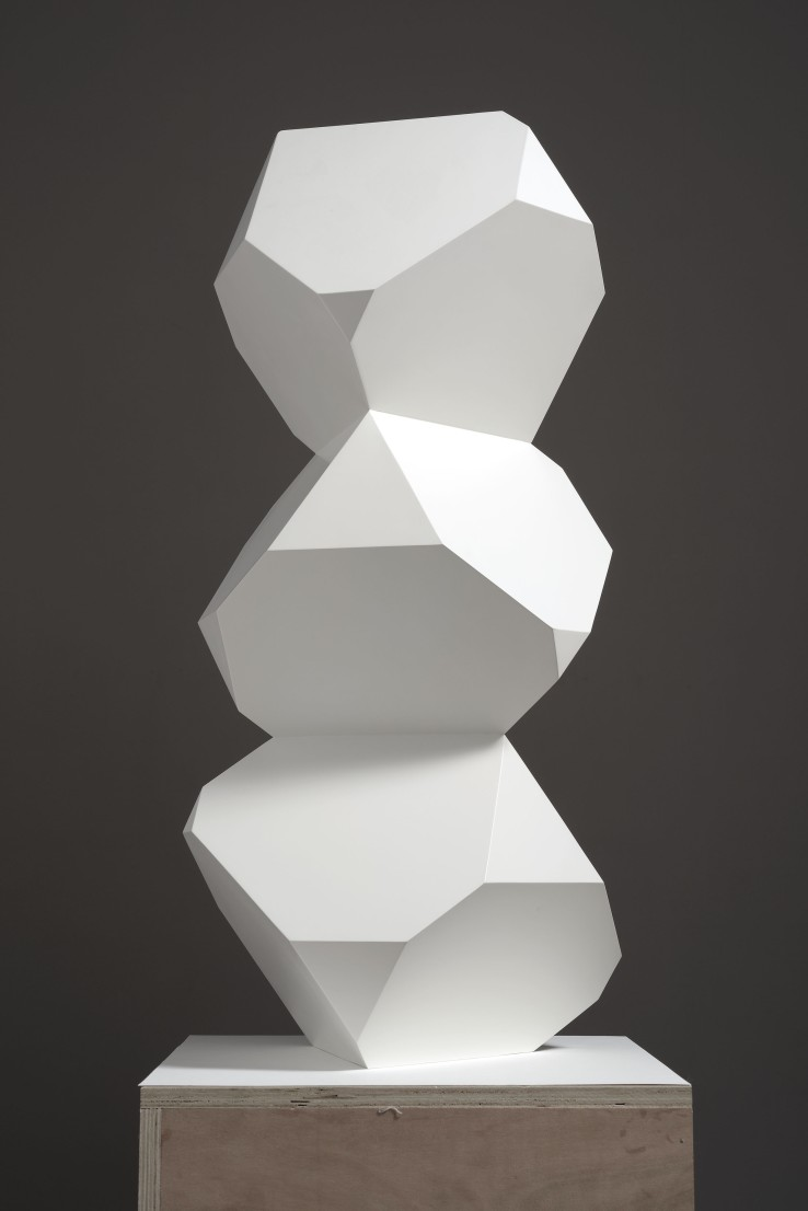 Norman Dilworth  Three Cubes, 2016  Steel painted white  90 x 40 x 40 cm