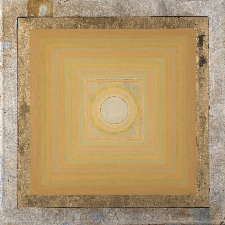 Janicon XVIII  1999  Oil, silver and gold leaf on canvas laid on wood  41 x 41 cm