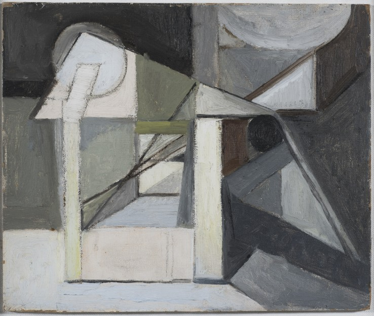 The Railway  1949-50  Oil on board  25 x 30 cm  Exhibited: Paul Feiler: Form to Essence, Tate St Ives, 1995  Paul Feiler: One Hundred Years, Jerwood Gallery, Hastings, 2018