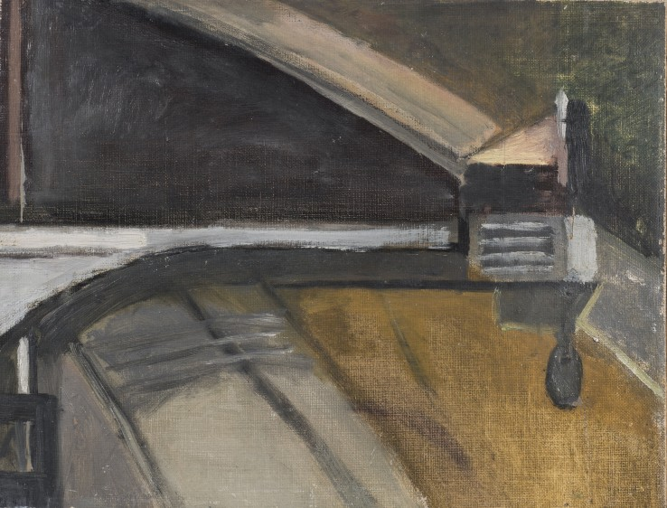 Railway IV  1950  Oil on canvas laid on wood  26 x 33 cm  Exhibited: Paul Feiler: One Hundred Years, Jerwood Gallery, Hastings, 2018