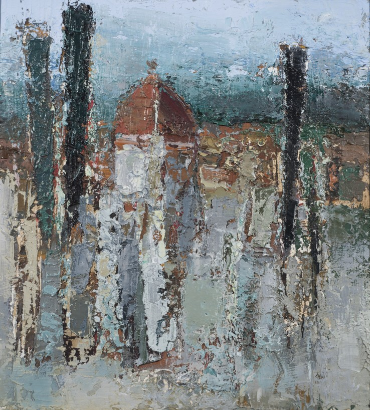 View of Florence  1954  Oil on board  39 x 36 cm  Exhibited: Paul Feiler: One Hundred Years, Jerwood Gallery, Hastings, 2018