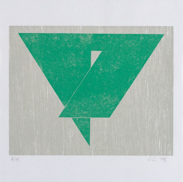 Triangle: Enclosed Shape, 1995  Woodblock print on Shoji paper  19 x 19 cm  Edition of 15 impressions