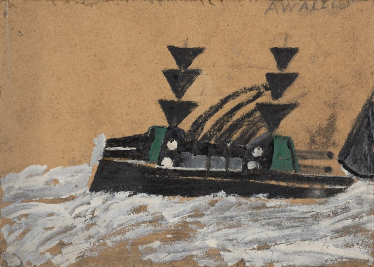 Alfred Wallis  Warboat  Oil and pencil on card  15 x 22 cm