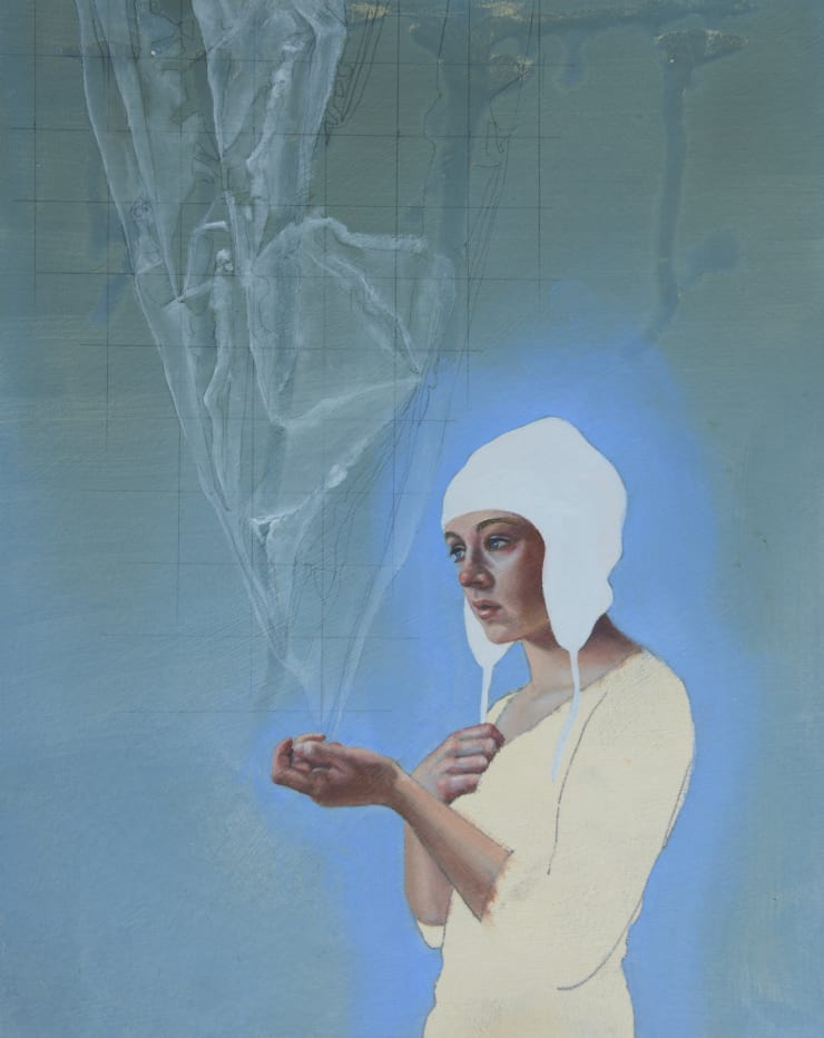 Pippa Young Study for: Chasing a spider's shadow, 2016 Oil on primed paper 19 3/10 × 15 7/10 in 49 × 40 cm