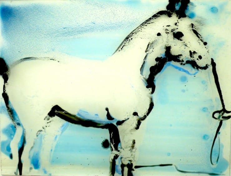 Ilona Szalay Horse (Blue), 2015 Oil on glass 15 7/10 × 23 3/5 in 40 × 60 cm