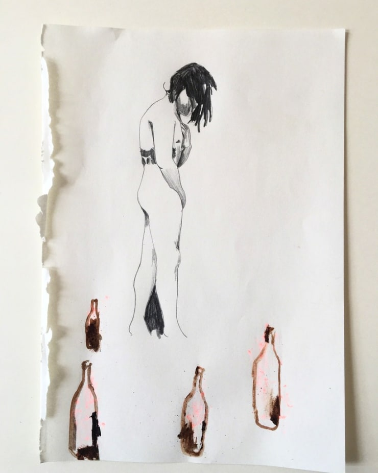Michael Aurel Adopting The Self, 2018 pencil and acrylic on paper 8 3/10 x 5 1/2 in21 x 14 cm