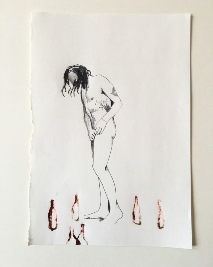 Michael Aurel Adopting The Self (series), 2018 pencil and acrylic on paper 8 3/10 x 5 1/2 in21 x 14 cm