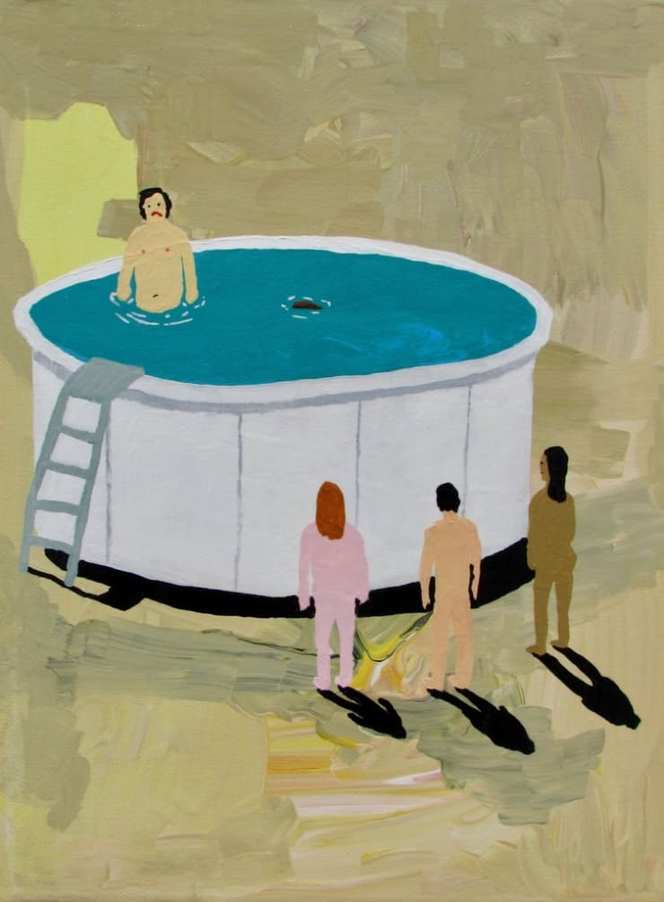 Alexander Paulus Amazing how one trud can ruin an above ground pool party, 2018 acrylic on canvas 9 x 12 cm 3 1/2 x 4 3/4 in