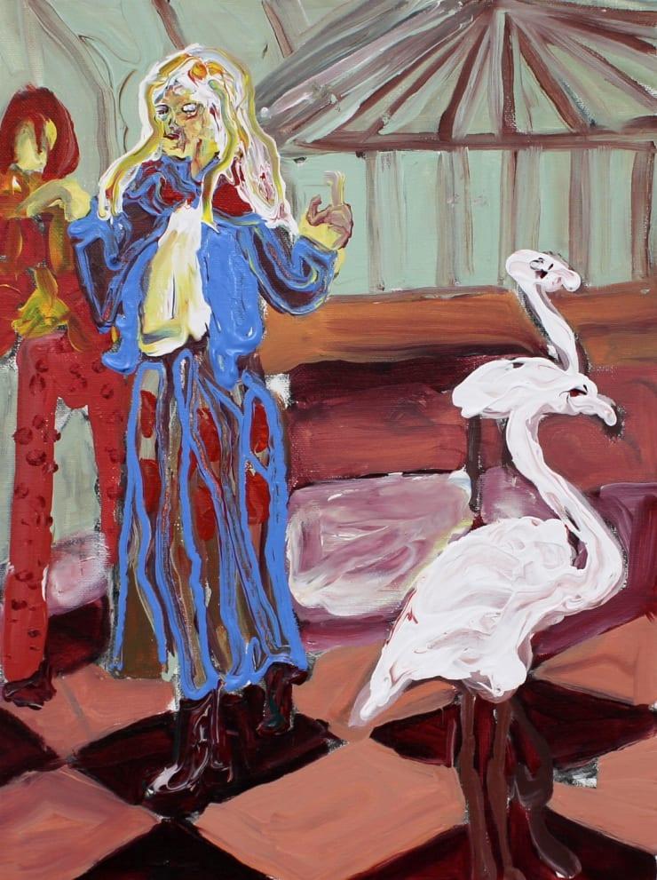 Rhiannon Salisbury Flamingo's In The Sun Lounge, 2018 acrylic on canvas 40.6 x 30.5 cm