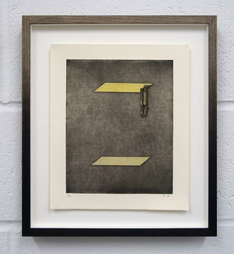 Thomas Adam Barefoot Man Stuck in Attic, 2019 Hand Coloured Etching, Edition of 20 41 x 46 cm framed 30 x 25.5 unframed