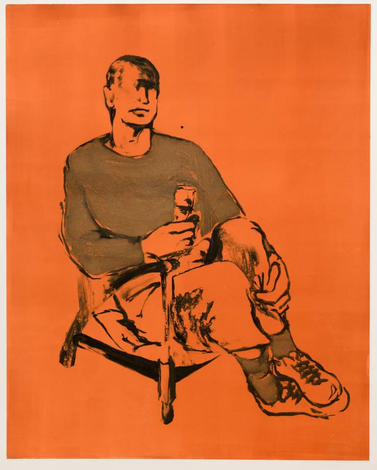 Shelly Tregoning Big Man, Small Chair, 2019 Monoprint 112 x 91 cm
