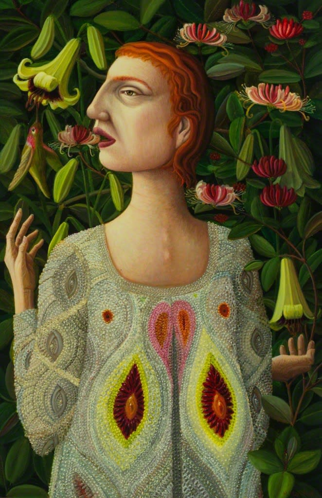 Helen Flockhart Honeysuckle and Lilies, 2017 oil on board 15 7/10 × 10 1/5 × 4/5 in40 × 26 × 2 cm