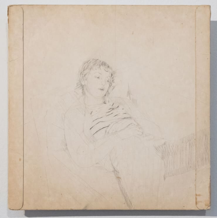 Casper White Next Day 2 (Mabli), Berlin Silverpoint and pencil on found record sleeve 26 x 26 cm