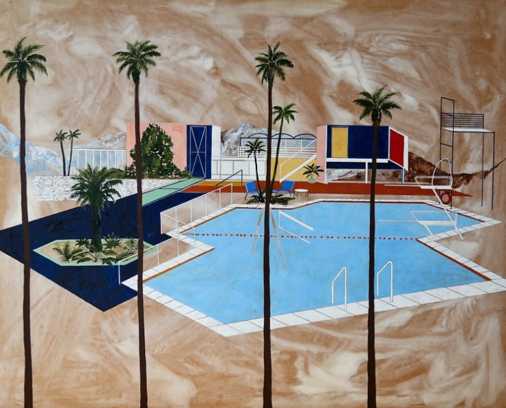Charlotte Keates Four Palms, 2017 acrylic and oil on board 47 1/5 × 39 2/5 in120 × 100 cm