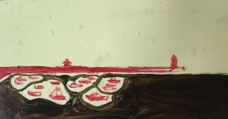 Michael Aurel Loves A Woman, Loves A Pill, Loves a Harbour oil on board 3 1/10 x 4 7/10 in8 x 12 cm