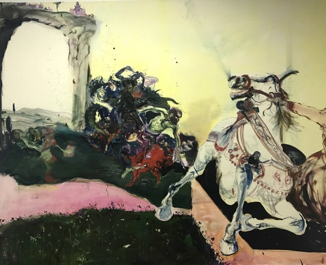 Blair McLaughlin After the Calumny of Apelles Oil on canvas 63 × 78 7/10 × 1 3/5 in 160 × 200 × 4 cm