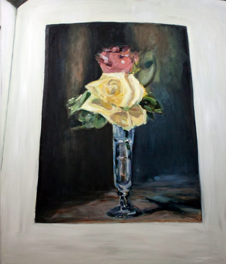 Lara Davies 'Roses dans un Verre a Champagne' from 'The Last Flowers of Manet', 2019 oil on canvas 120 x 100cm