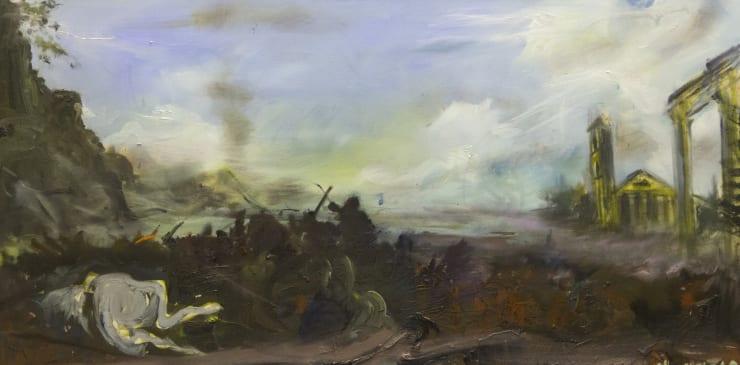 Blair McLaughlin After Salvador Rosa's Battle, 2017 Oil on linen 31 1/2 × 63 in 80 × 160 cm
