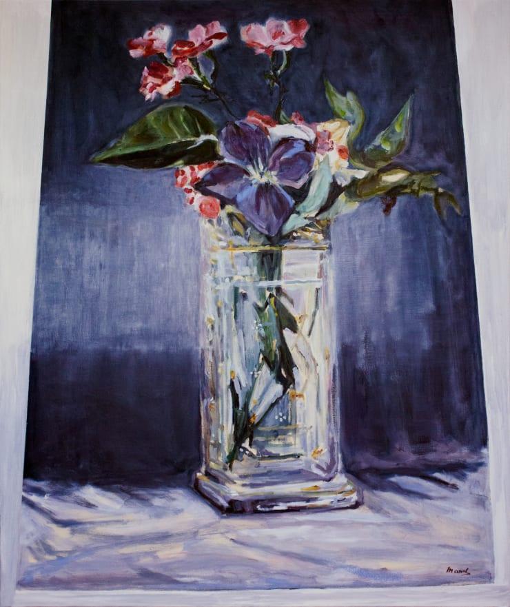 Lara Davies 'Oeillets et Clematites dans un Vase de Cristal' from 'The Last Flowers of Manet' 2, 2019 oil on canvas 120 x 100 cm