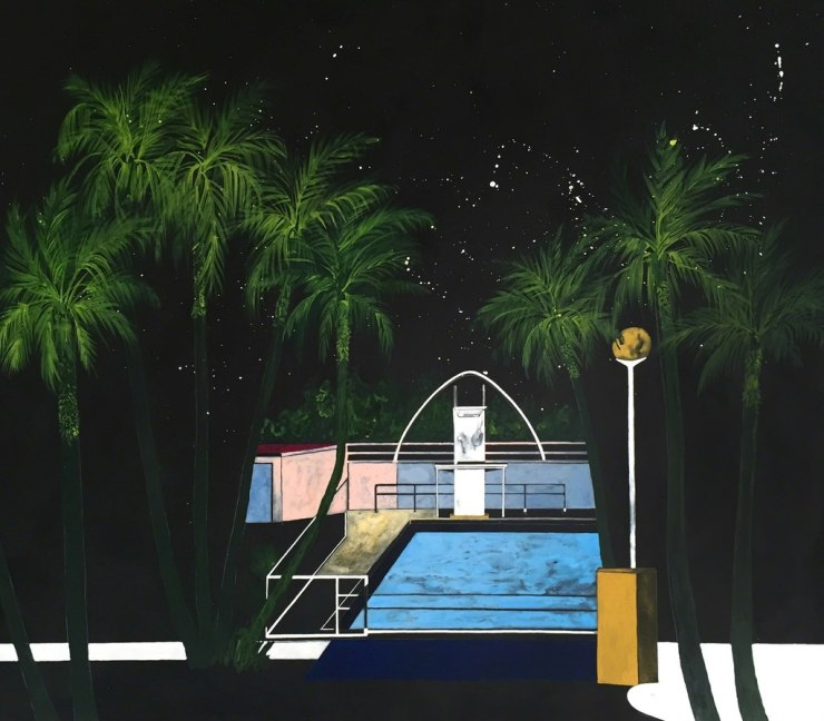 Charlotte Keates Night Time Oasis, 2017 acrylic on panel 27 3/5 x 31 1/2 in70 x 80 cm