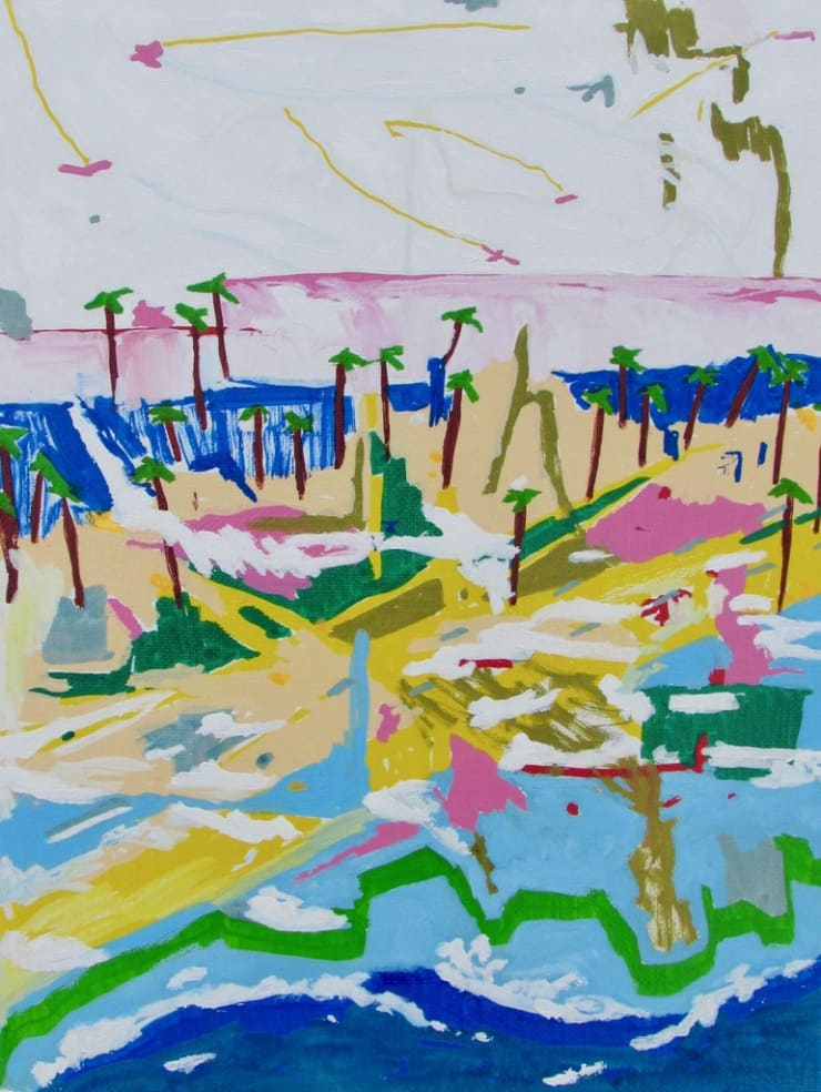 Alexander Paulus I've never been to California but this is exactly what it looks like, 2018 acrylic on canvas 22.9 x 30.5 cm9 x 12 in