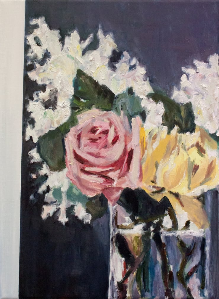 Lara Davies Detail of 'Lilas et Roses' from 'The Last Flowers of Manet', 2019 oil on linen 40 x 30 cm