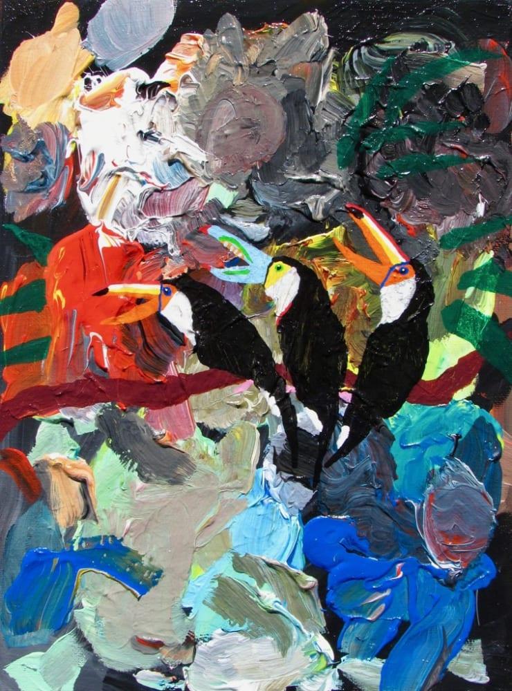 Alexander Paulus A toucan threesome, 2018 acrylic on canvas 9 x 12 cm3 1/2 x 4 7/10 in