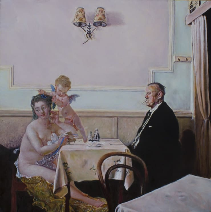 Morwenna Morrison L'Amour et la Fumée, 2017 oil on canvas 35 2/5 x 35 2/5 in90 x 90 cm